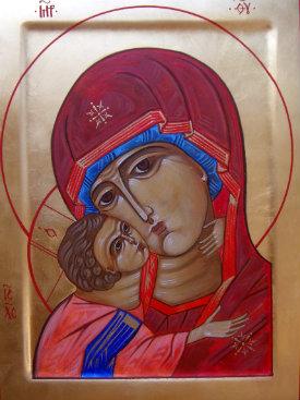 Mother of God Korsunskaya gessoed panel egg tempera technique
