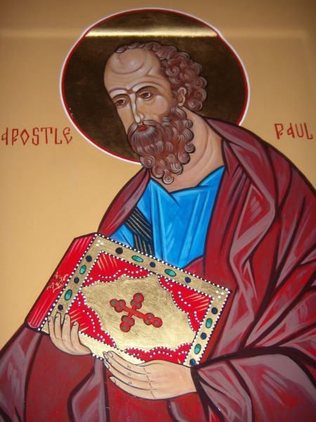 Apostle Paul gessoed panel acrylic technique