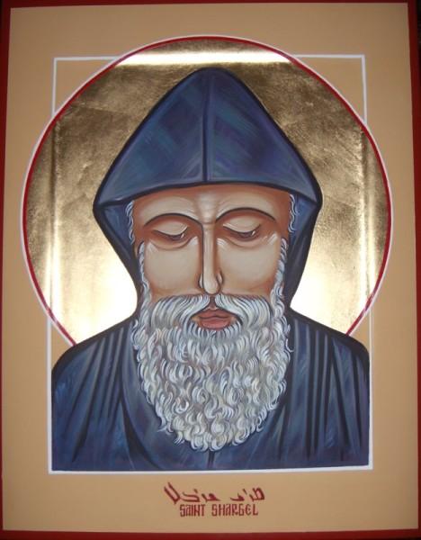St. Sharbel gessoed panel acrylic technique