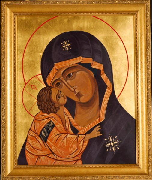 Donskoya Mother of God gessoed panel acrylic technique