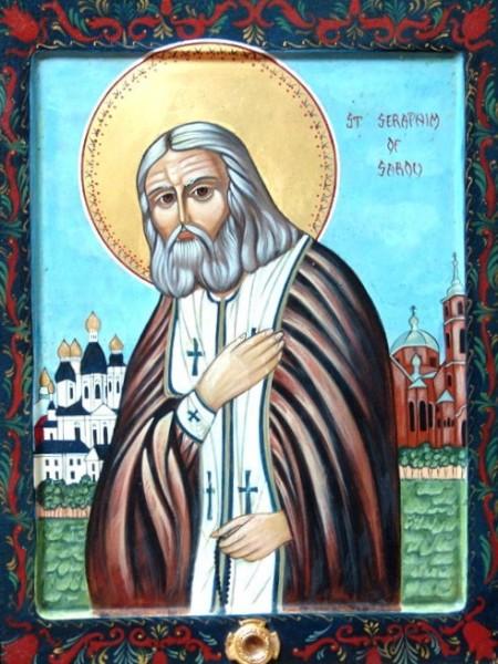 St. Seraphim of Sarov gessoed panel egg tempera technique
