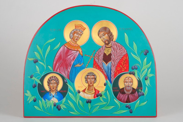 Family Icon (korluka family) gessoed panel acrylic technique
